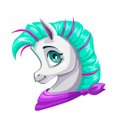 cute cartoon little horse face vector image