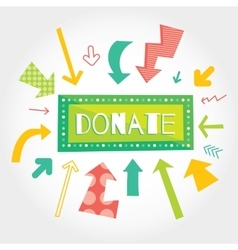 Donate green button with colorful arrows pointing vector image