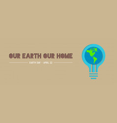 Earth day green light bulb paper cut banner vector