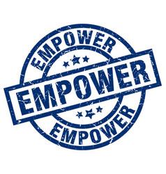 Empower blue round grunge stamp vector