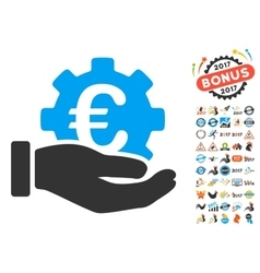 Euro development service hand icon with 2017 year vector
