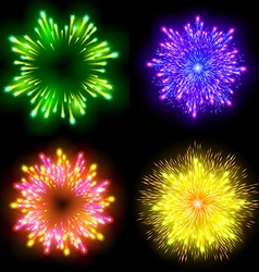 Festive patterned firework bursting in various vector image vector image