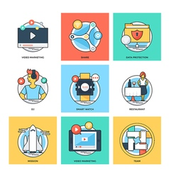 Flat Color Line Design Concepts Icons 33 vector image vector image