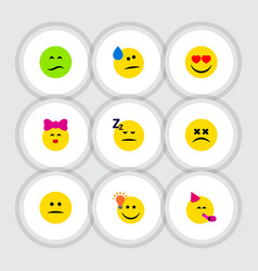 Flat icon emoji set of love asleep tears and vector