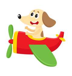 Funny dog puppy pilot character flying on vector