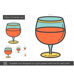 Glass of brandy line icon vector
