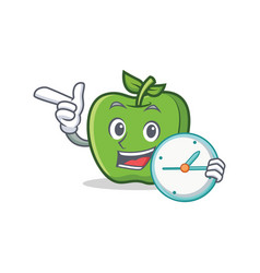 Green apple character cartoon with clock vector