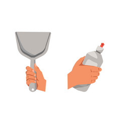 Hands holding shovel for cleaning and detergent in vector