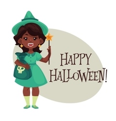 Happy girl dressed as fairy for Halloween vector image