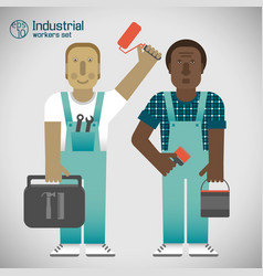 Industrial workers flat style vector