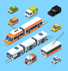 isometric municipal transport set vector image