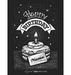Lettering happy birthday with nameplate on vector