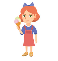 little caucasian girl holding an ice cream cone vector image