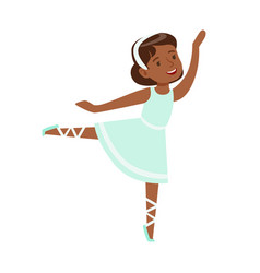 Little girl in blue dress dancing ballet in vector