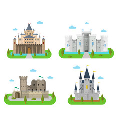 medieval castle in the flat style vector image
