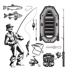 Monochrome Fishing Elements Set vector image