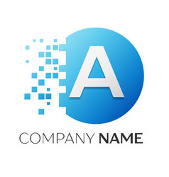 realistic letter a logo in colorful circle vector image vector image
