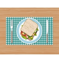 Sandwich on plate top view vector image