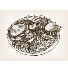 Seafood still life hand drawn sketch style vector
