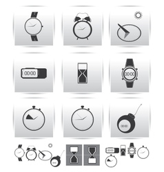 set icons Time and clock vector image