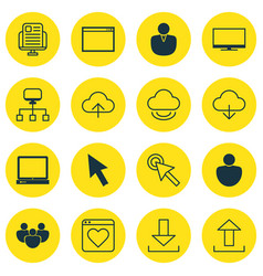 Set of 16 internet icons includes virtual storage vector