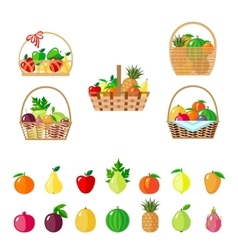 Set of baskets with fruits vector
