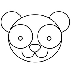 Silhouette caricature face panda bear vector