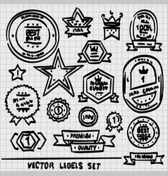 sketch set labels vector image vector image