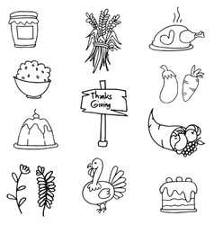 Thanksgiving set doodles hand draw vector