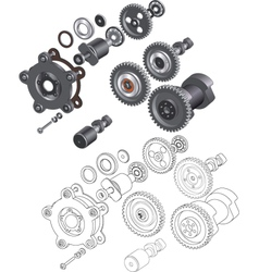 The complete set mechanisms and gears vector image vector image