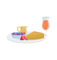 Waffle Berry And Juice Breakfast Food Drink Set vector image vector image