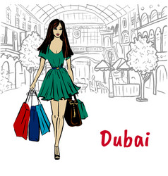 Woman in shopping mall vector