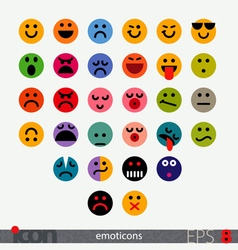 Set of fully geometric emoticons vector