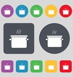 Pan cooking icon sign a set of 12 colored buttons vector