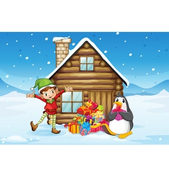 A wooden house with an elf and a penguin vector