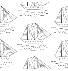 Sailing boat seamless outline pattern in vector