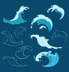 Set of sea waves of different shapes vector