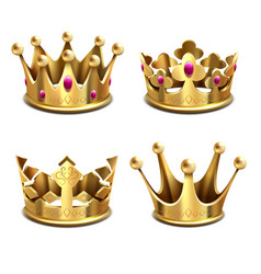 Gold 3d crown set royal monarchy and kings vector