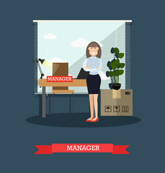 Flat of postal service manager vector