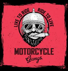 Biker round frame poster vector