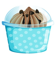 A container with a sweet dessert vector