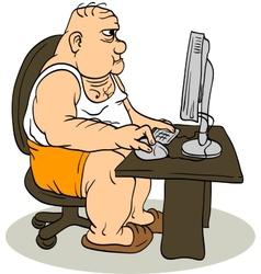 Fat Man At The Computer vector image