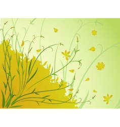 Floral autumn background stem leaves vector
