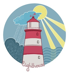 Artistic lighthouse design vector
