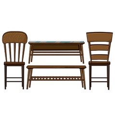 Wooden chairs and tables vector