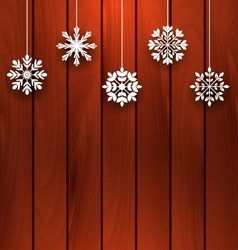 Wooden background with variation snowflakes vector