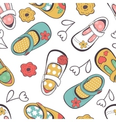 Little girl shoes seamless pattern vector