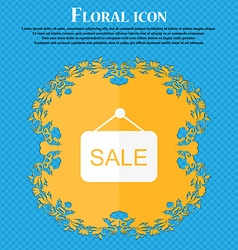 Sale icon floral flat design on a blue abstract vector