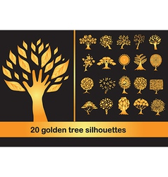 20 golden tree silhouettes vector