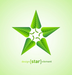 Abstract design element star with green spring vector image vector image